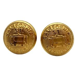 Vintage Accessories - VINTAGE CALIFORNIA ST. CABLE R.R. GOLD CUFFLINKS